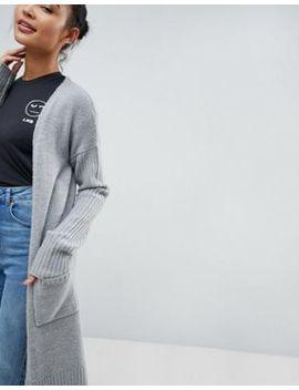 Fashion Union Longline Cardigan With Ribbed Sleeves by Fashion Union