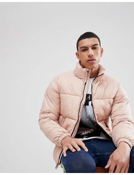 Pull&Bear Panelled Puffer Jacket In Pink by Pull&Bear