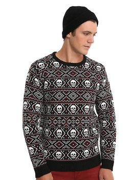 Xxx Rude Black &Amp; Red Skull Fair Isle Sweater by Hot Topic