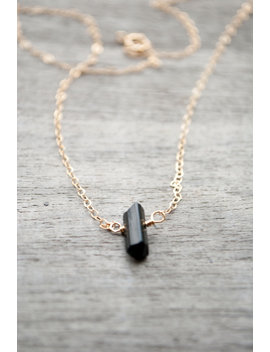 Black Tourmaline Stick Necklace by Etsy