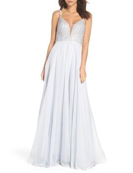 Beaded Chiffon Gown by La Femme