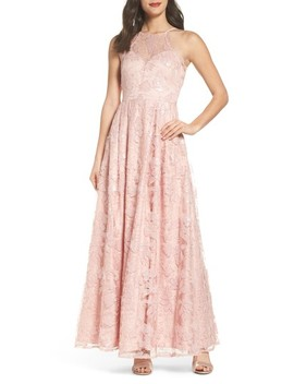 Lace Up Back Embroidered Gown by Morgan & Co.