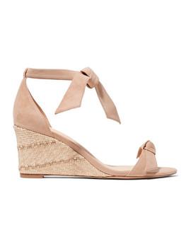 Clarita Bow Embellished Suede Espadrille Wedge Sandals by Alexandre Birman