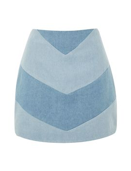 **Low Rider Denim Mix Panel Skirt By Wyldr by Topshop