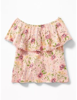 Floral Off The Shoulder Slub Knit Top For Girls by Old Navy