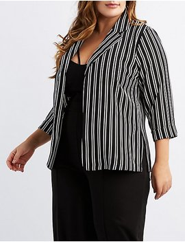 Plus Size Striped Boyfriend Blazer by Charlotte Russe