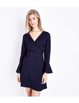 Mela Navy Wrap Front Bell Sleeve Dress by New Look