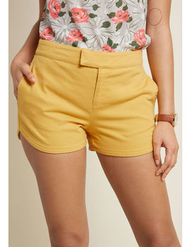 Positively Polished Shorts In Yellow Positively Polished Shorts In Yellow by Modcloth