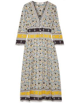 Pleated Floral Print Silk Midi Dress by Sea