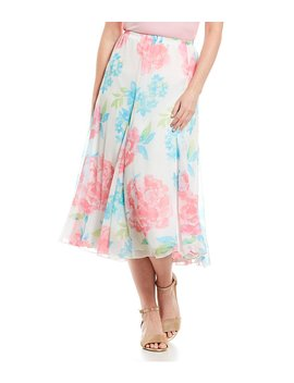 Ruby Rd. Watercolor Blooms Print Pull On Long Gored Yoryu Skirt by Ruby Rd.