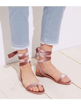 Velvet Lace Up Flat Sandals by Loft