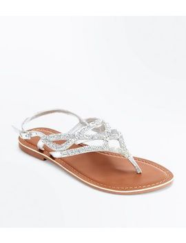 Silver Leather Crystal Embellished Flat Sandals by New Look