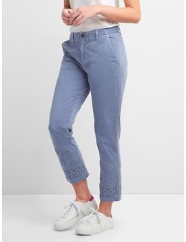 Girlfriend Chinos With Eyelet Embroidery In Color by Gap