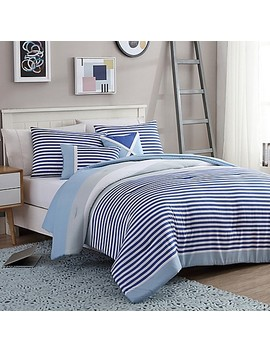 Vcny Home Collegiate Stripe Reversible Comforter Set by Bed Bath And Beyond