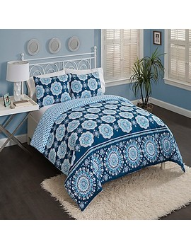Vue Karma Love Reversible Comforter Set In Blue by Bed Bath And Beyond