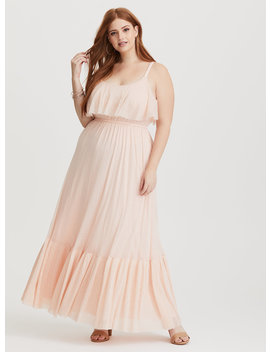 Runway Collection   Blush Mesh Flounce Maxi Dress by Torrid
