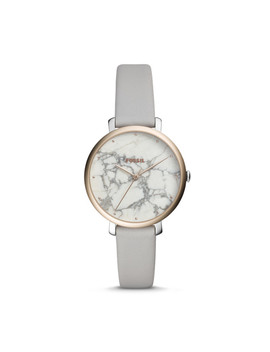 Jacqueline Three Hand Mineral Gray Leather Watch by Fossil
