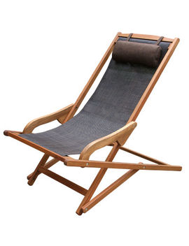 Outdoor Interiors Sling And Eucalyptus Swing Lounger With Pillow by Outdoor Interiors