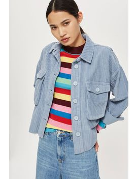 Corduroy Cropped Raw Hem Shacket by Topshop