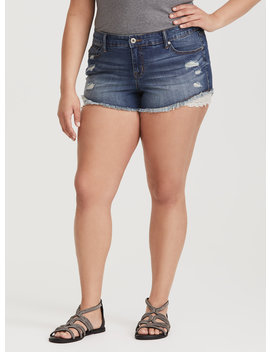 Beaded Scallop Trim Short   Distressed Light Wash by Torrid