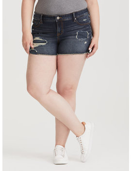 Repaired Distressed Short   Dark Wash by Torrid