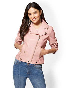 Pink Faux Leather Moto Jacket by New York & Company