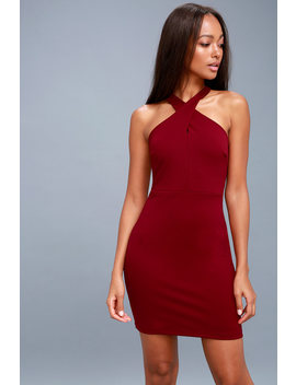 Thrive Wine Red Sleeveless Bodycon Dress by Lulus