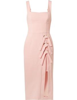 Celestina Lace Up Crepe Midi Dress by Rebecca Vallance