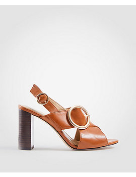 Magda Leather Buckle Block Heel Sandals by Ann Taylor