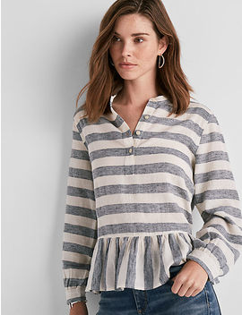 Long Sleeve Stripe Peplum Top by Lucky Brand