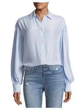 Full Sleeve Button Front Silk Shirt by Frame