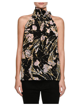 Multicolored Printed Sleeveless Silk Blouse by No. 21