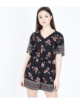 Teens Black Floral Border Print Playsuit by New Look