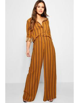 Petite Lucie Stripe Chiffon Co Ord Trousers by Boohoo
