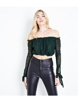 Dark Green Lace Knit Bardot Crop Top by New Look