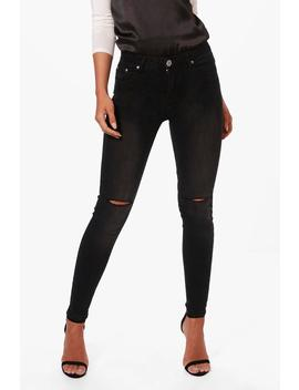 Petite Luci High Rise Biker Skinny Jeans by Boohoo