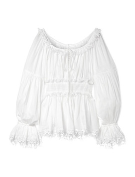 Guipure Lace Trimmed Cotton Voile Top by Dolce & Gabbana