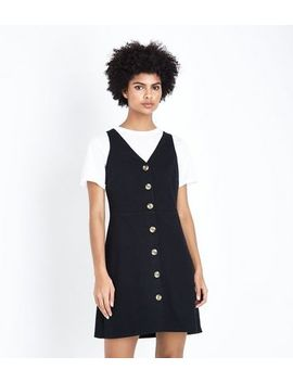 Black Cross Hatch Button Front Pinafore Dress by New Look