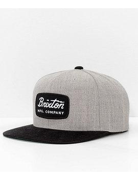 Brixton Jolt Grey & Black Corduroy Snapback Hat by Brixton