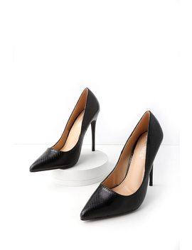 Baird Black Snake Pointed Pumps by Lulu's