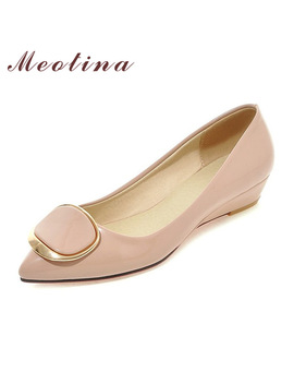 Meotina Women Shoes Wedge Heels Bridal Wedding Shoes Spring Low Heels Pumps Ladies Shoes Pumps Slip On Pink White Big Size 42 43 by Meotina Official Store