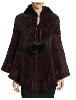Colorblock Mink Fur Poncho by Neiman Marcus