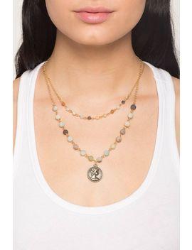 Elizabeth Coin Bead Charm Necklace by A'gaci