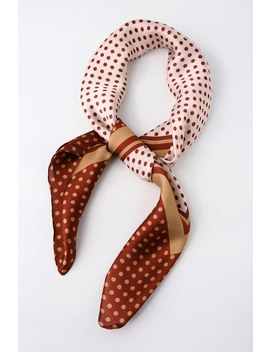 Monaco Rust Red And Cream Polka Dot Satin Scarf by Lulus
