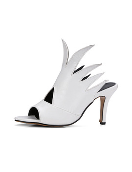 Karinluna Large Size 32 48 Top Quality High Heels Summer Shoes Woman Pumps Sexy Peep Toe Black White Slip On Mules Women Shoes by Karin Luna Official Store