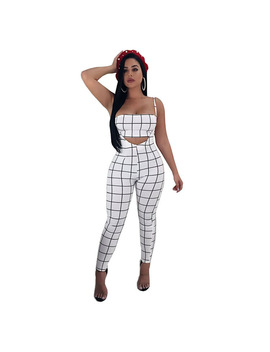 Women Track Sets Plaid Sexy Fashion Clothes 2018 New Suits Cocktail Party Wear Body Long Pants Set Ws6880 U by Lisa Boutique Store