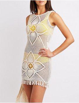 Crochet Fringe Trim Bodycon Dress by Charlotte Russe
