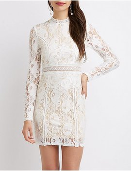 Floral Lace Mock Neck Bodycon Dress by Charlotte Russe
