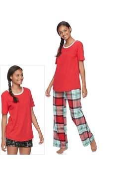 Juniors' So® Pajamas: Flannel Pants, Shorts &Amp; Short Sleeve Top 3 Piece Pj Set by Juniors' So