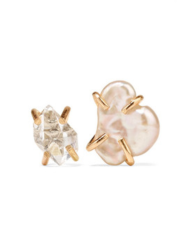 14 Karat Gold, Herkimer Diamond And Pearl Earrings by Melissa Joy Manning